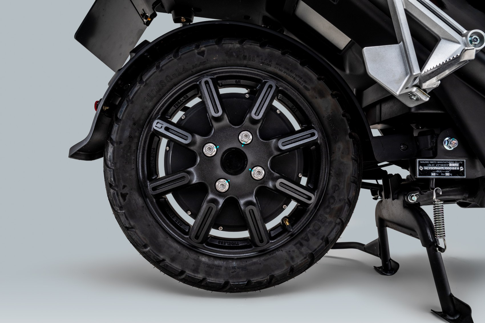 Super Soco CPx electric scooter motor and rear wheel