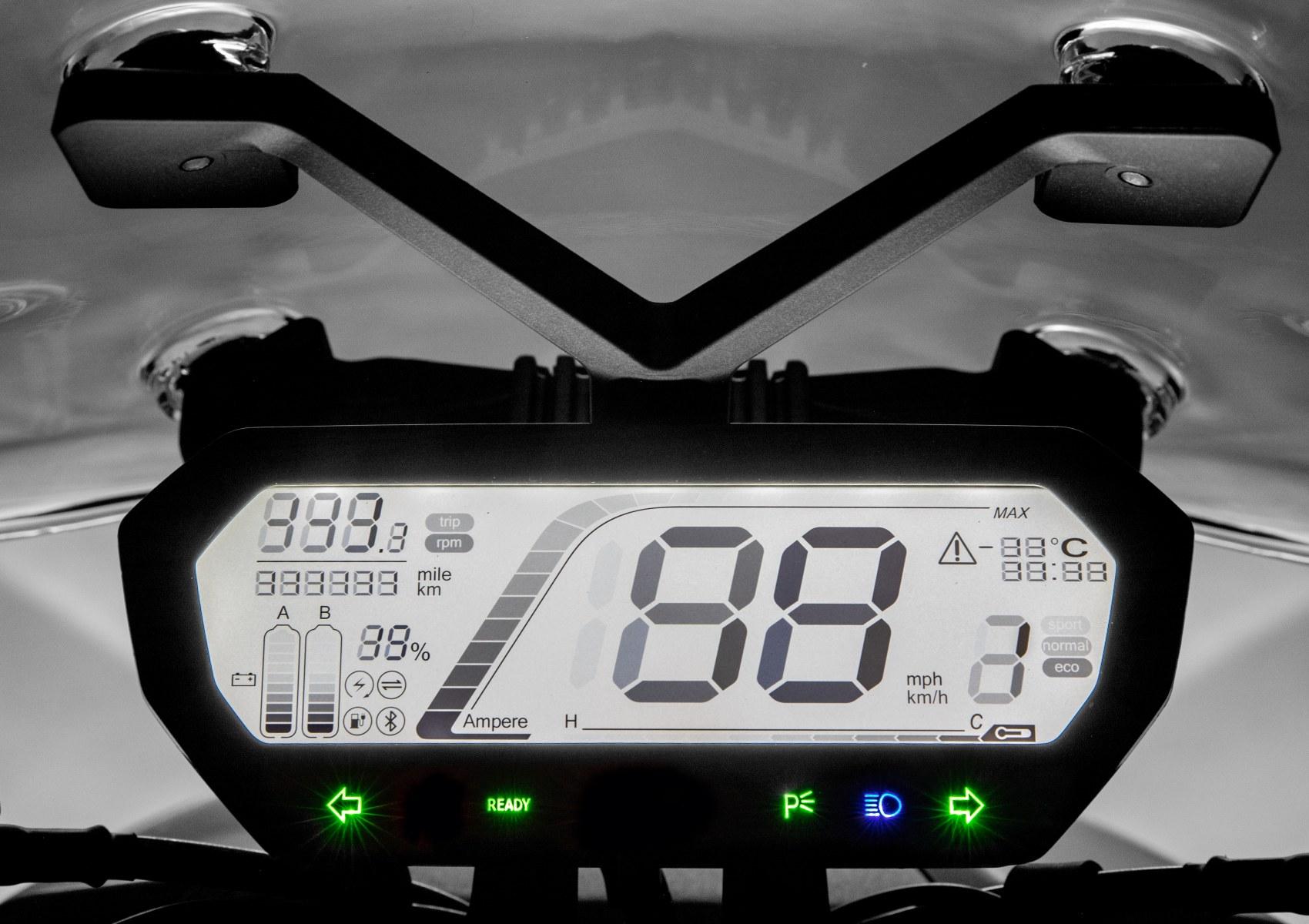 Super Soco CPx electric scooter digital disply dash