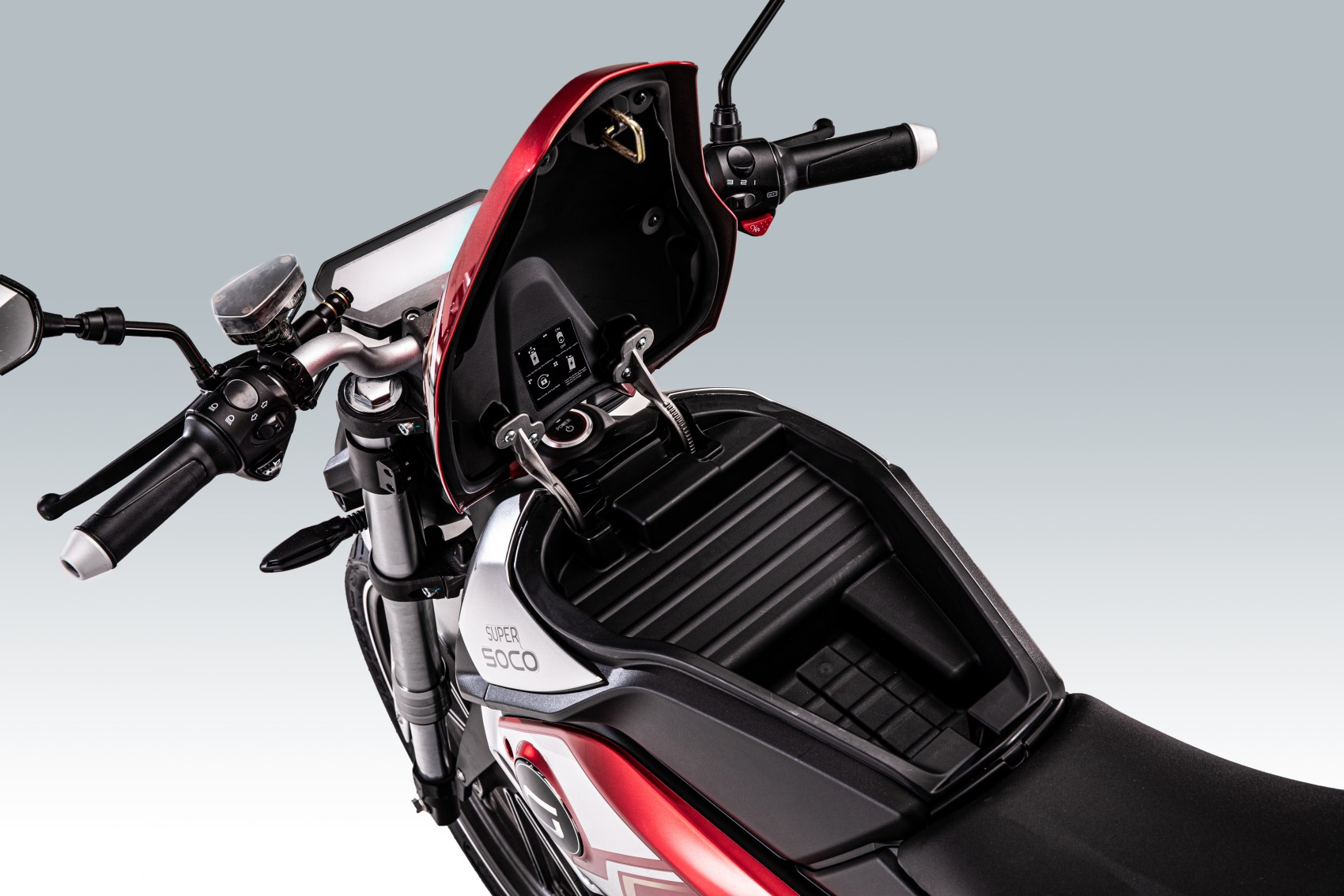 Super Soco TSx electric motorcycle battery compartment