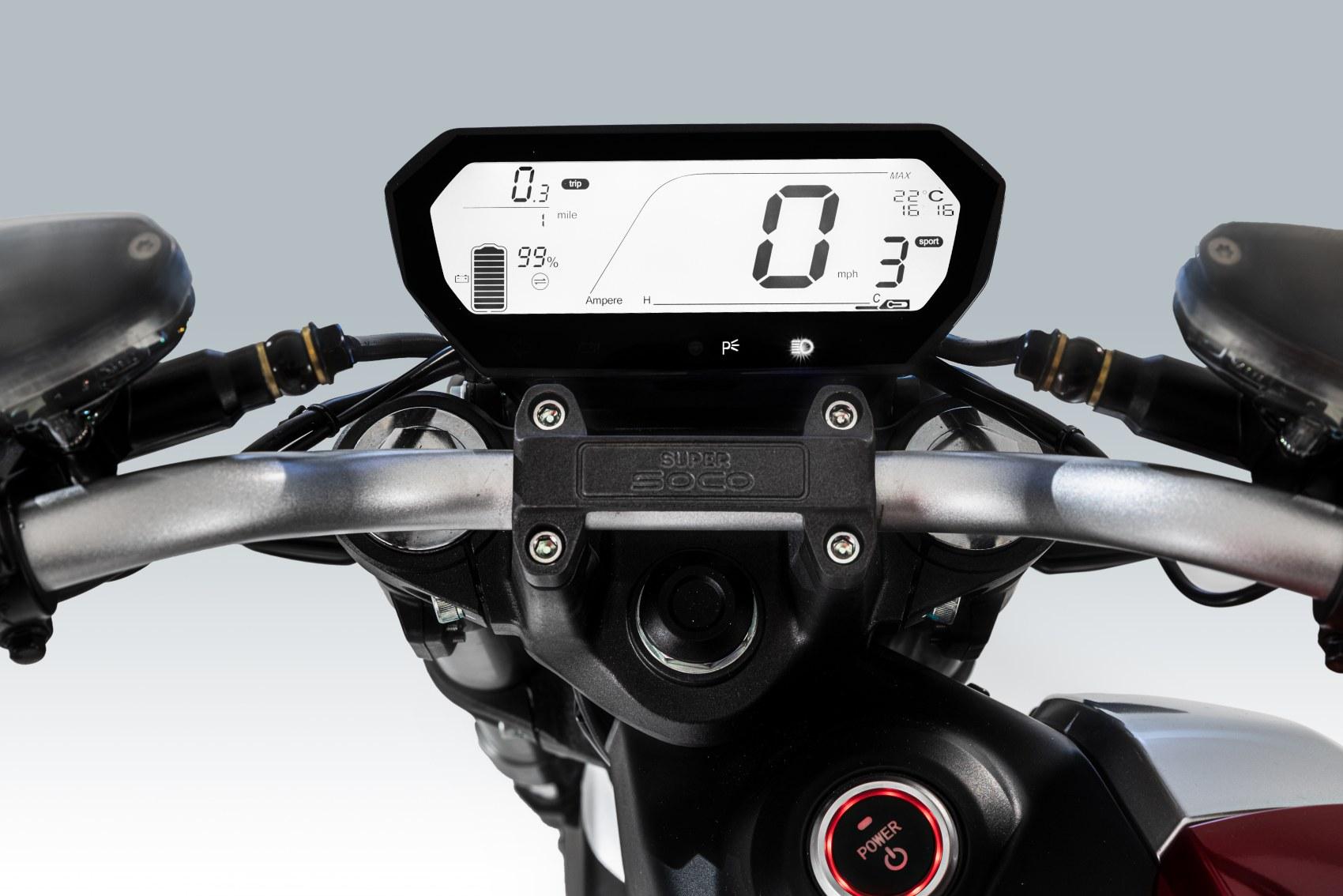 Super Soco TSx electric motorcycle digital dash display