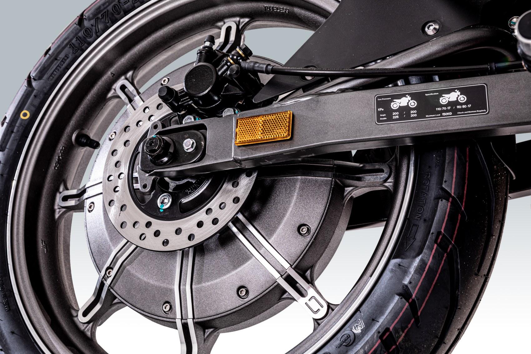 Super Soco TSx electric motorcycle rear hub motor