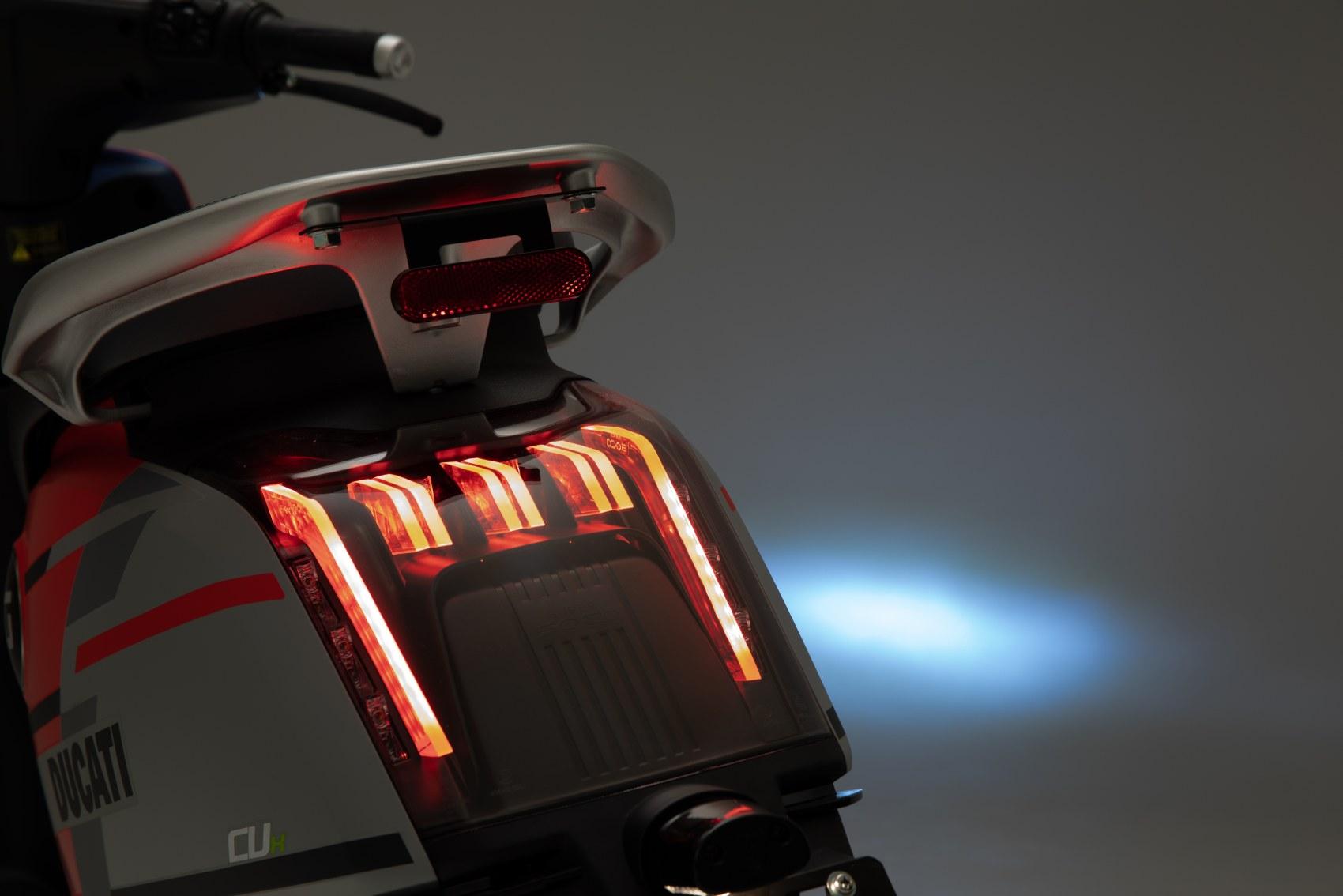 Super Soco CUx electric scooter Ducati Edition rear light