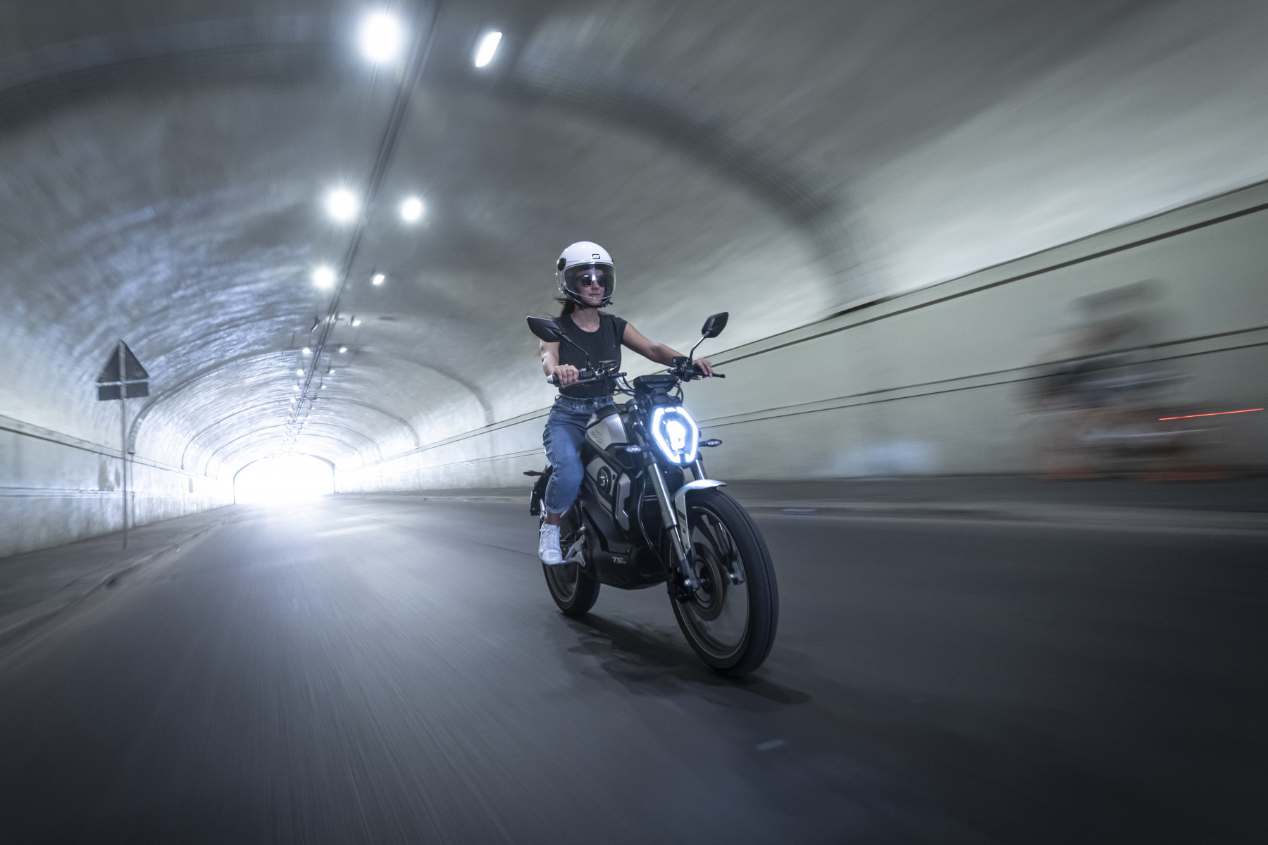 Super Soco TSx electric motorcycle being ridden