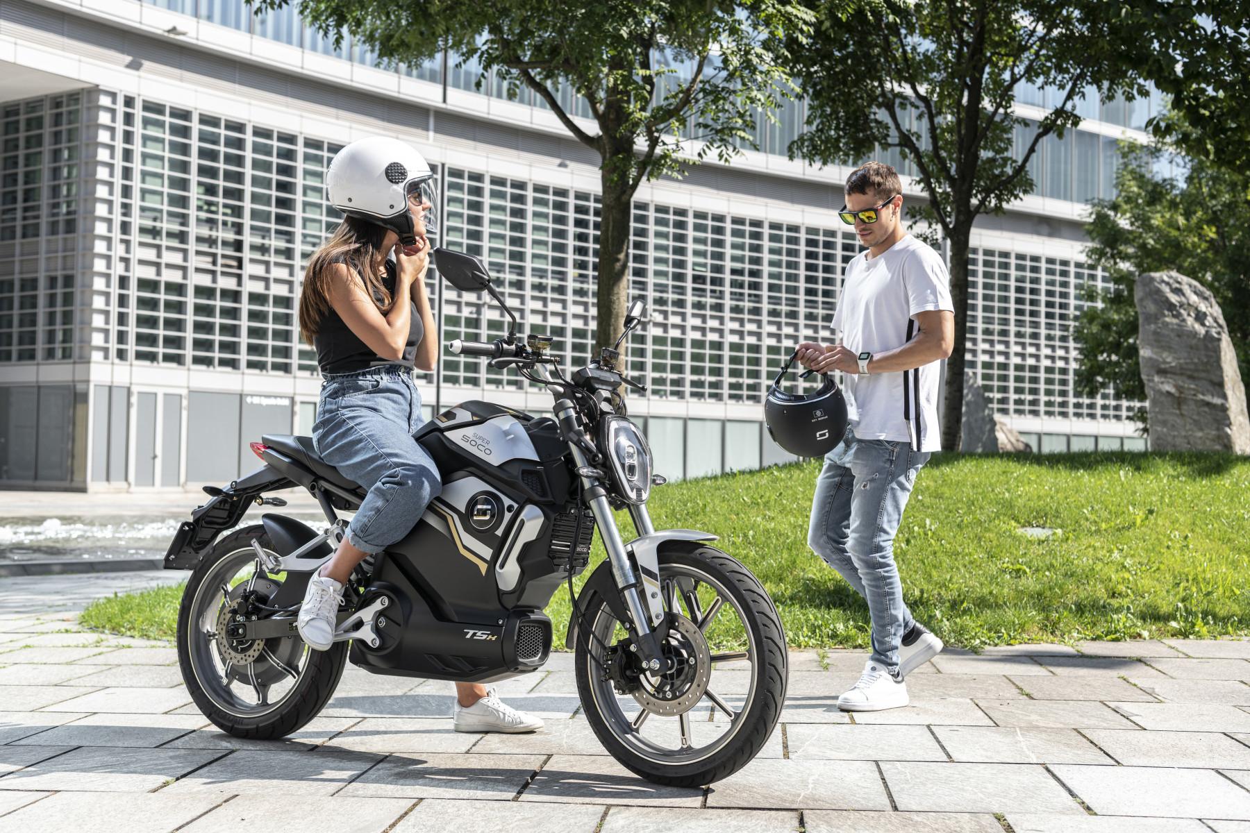 Super Soco TSx electric motorcycle lifestyle image
