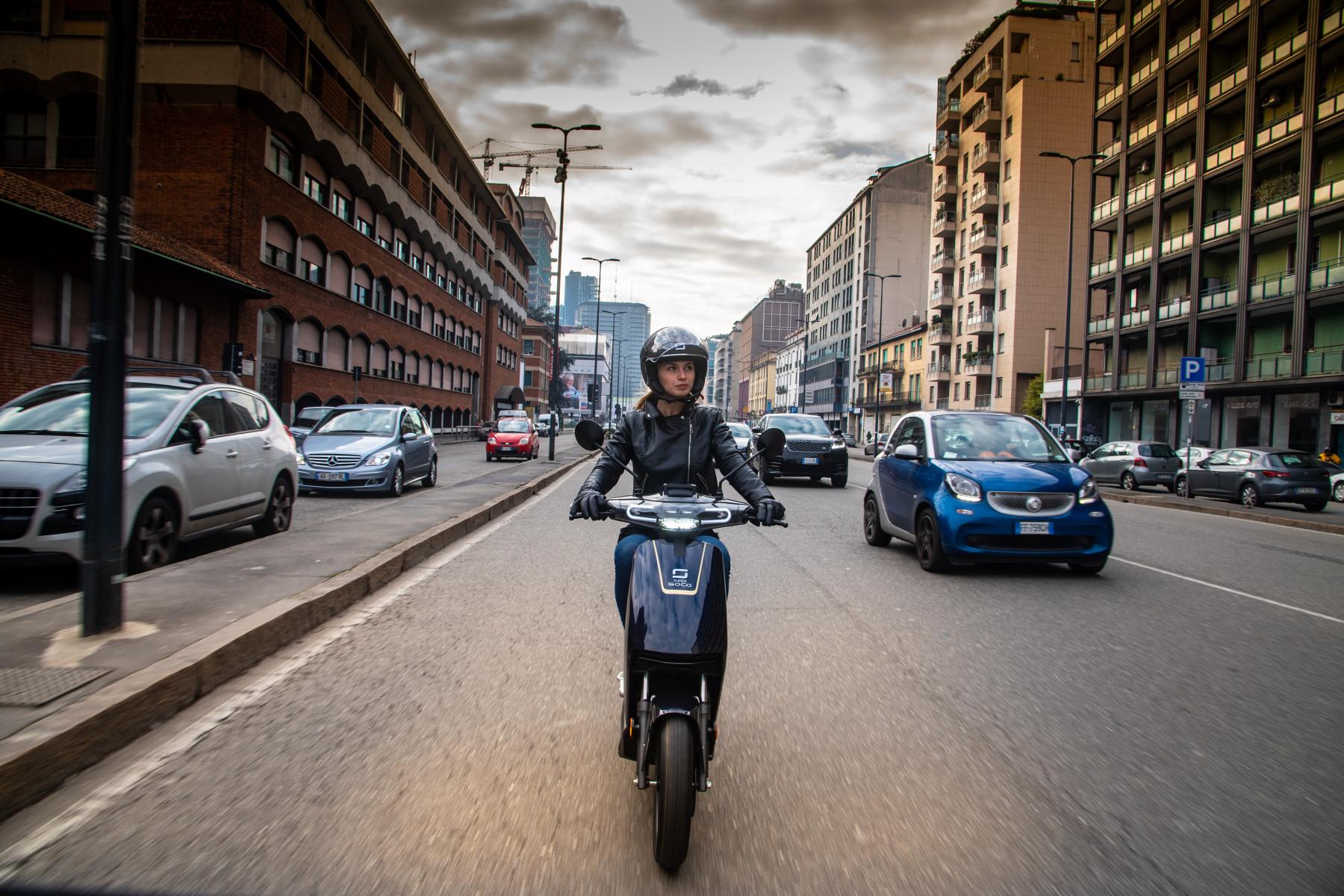 Super Soco CUx electric scooter in Milan
