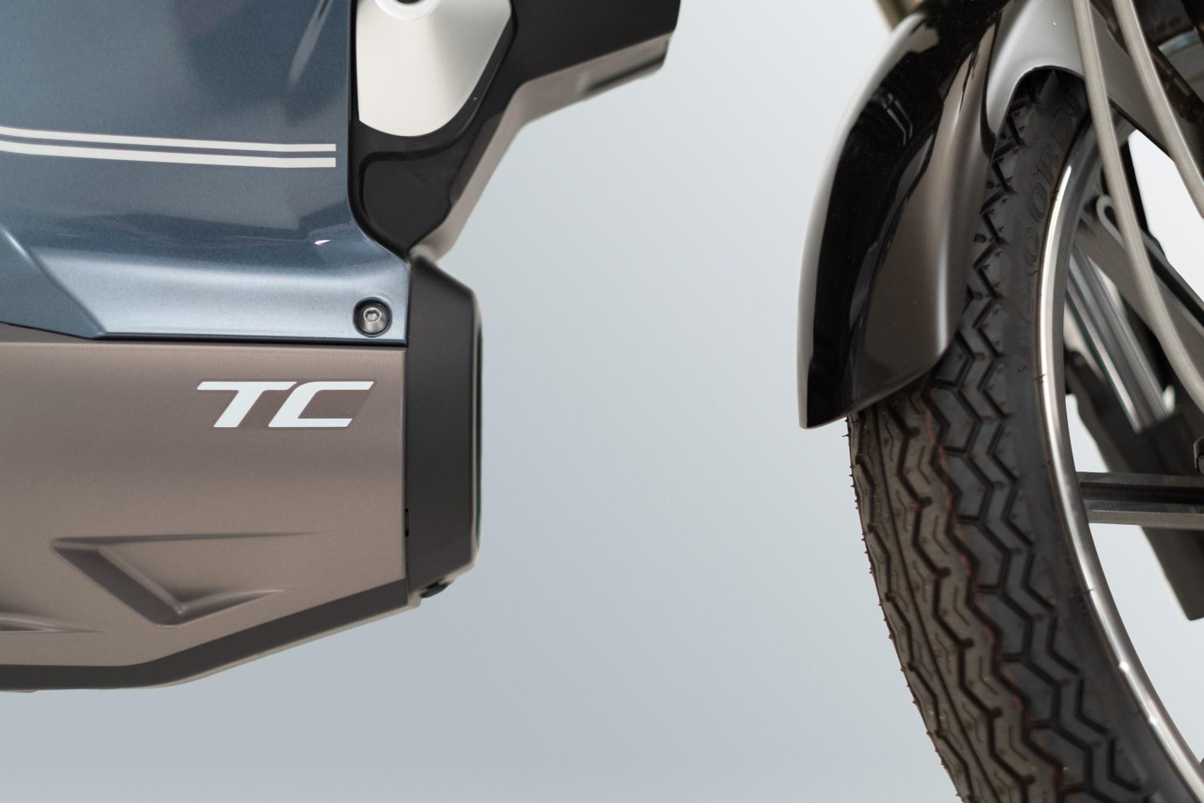 Super Soco TC electric motorcycle panel logo
