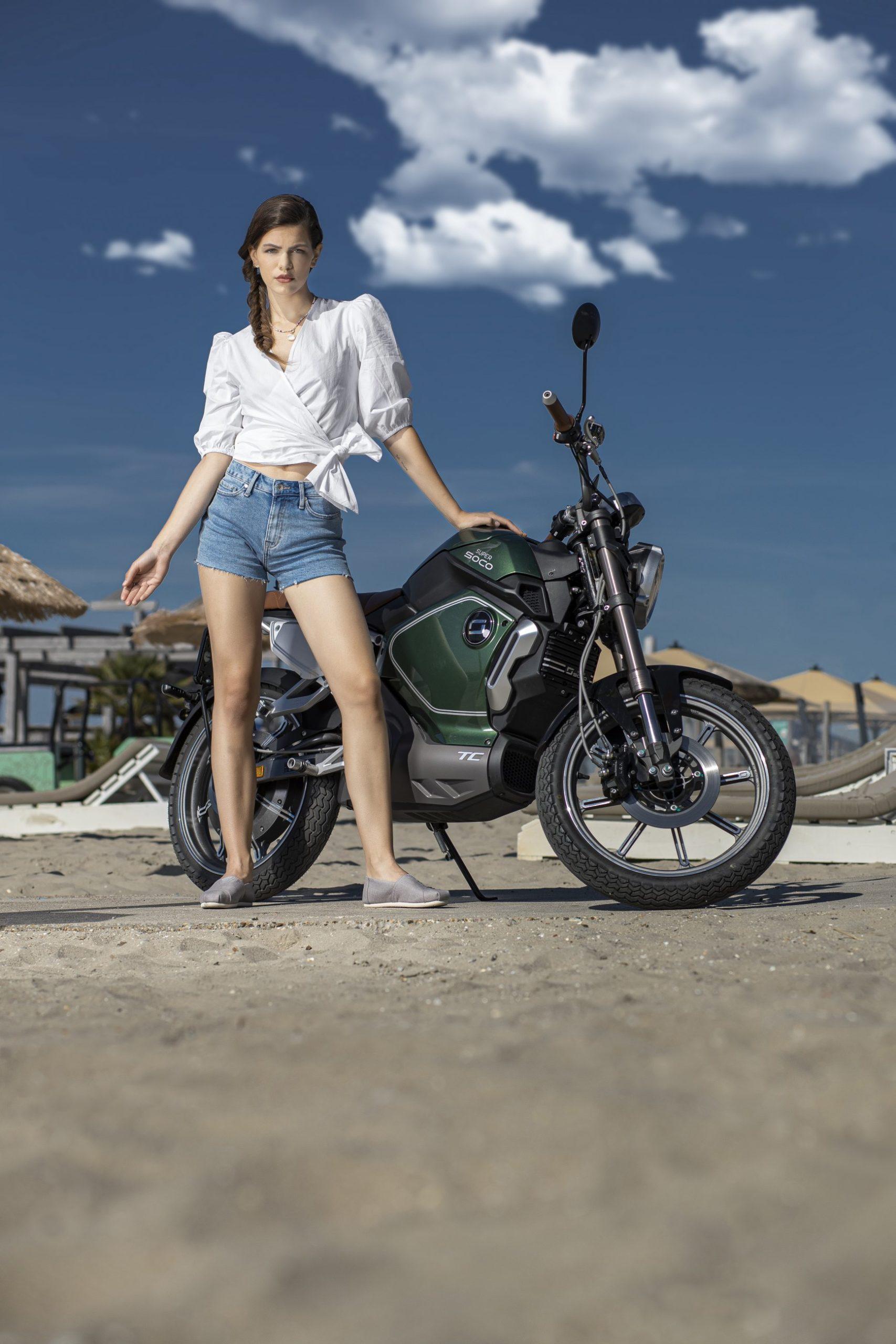 Super Soco TC electric motorcycle lifestyle image