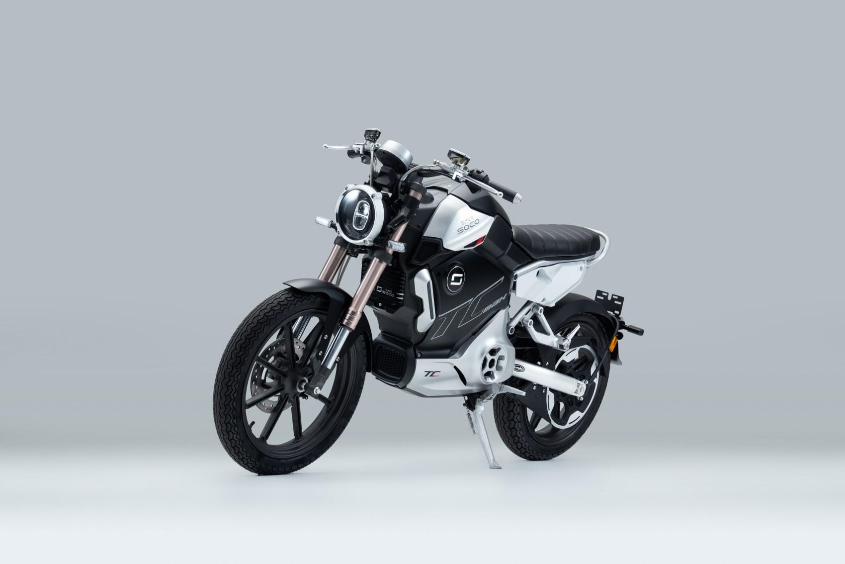 Super Soco TC Max electric motorcycle front three quarter