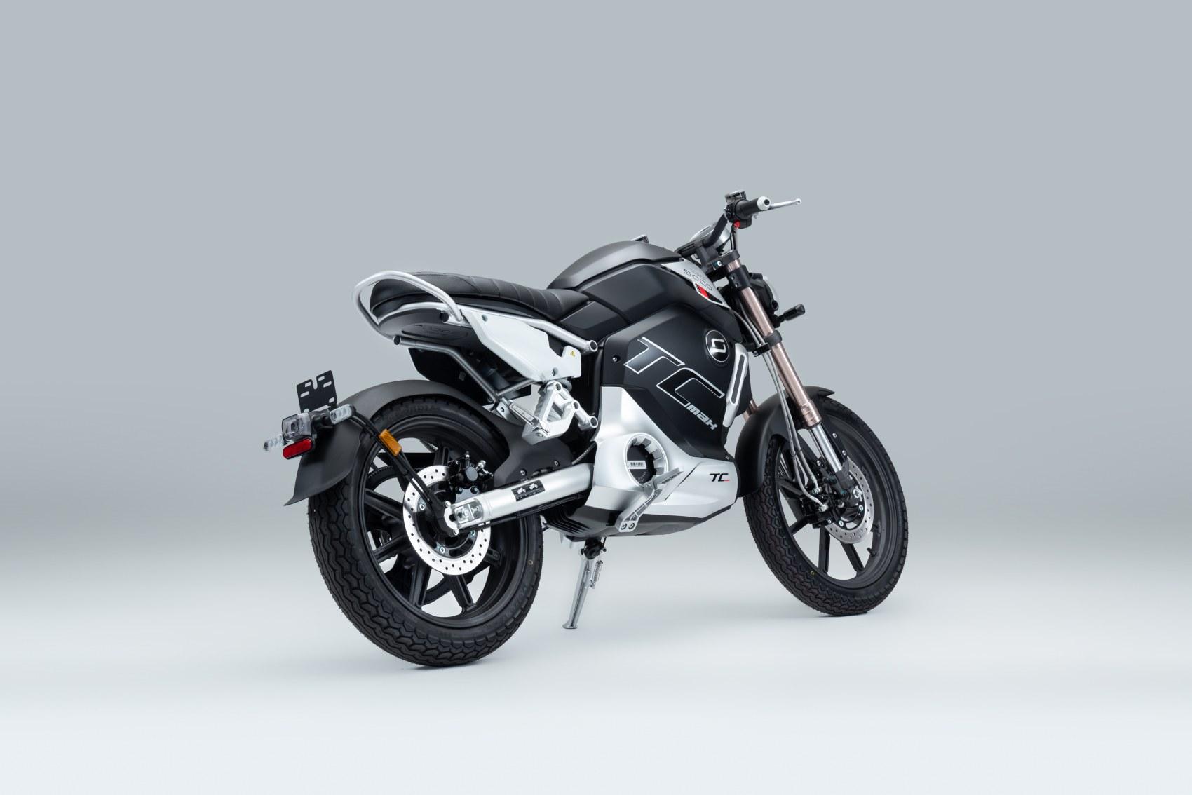 Super Soco TC Max electric motorcycle rear three quarter
