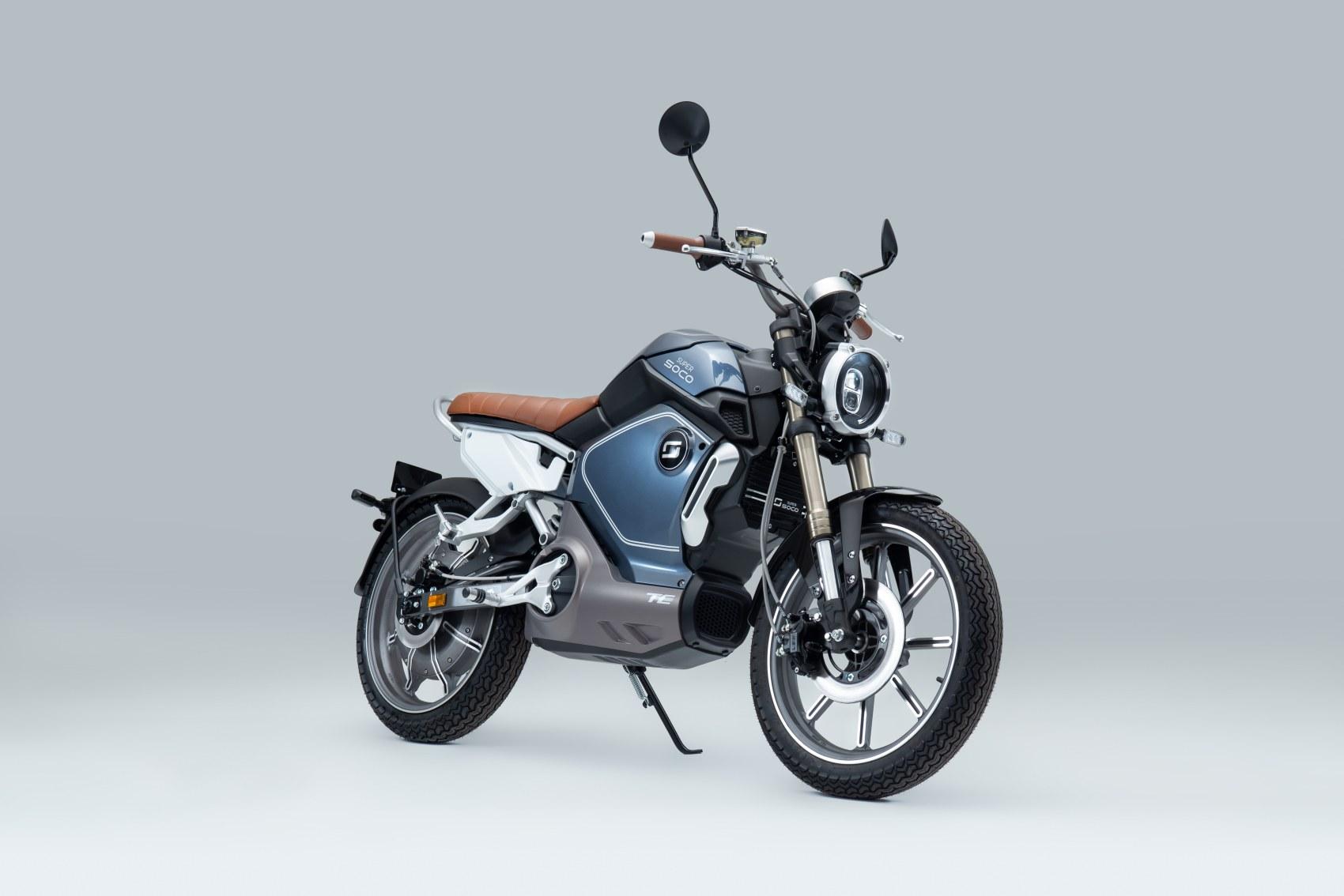 Super Soco TC electric motorcycle front three quarter profile image