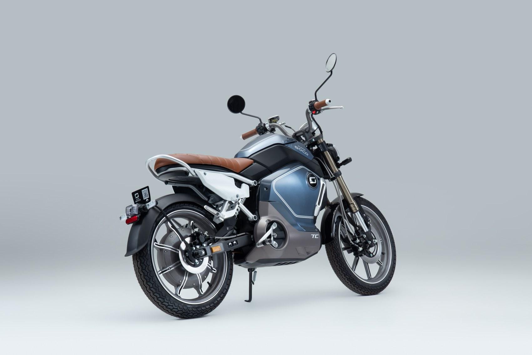 Super Soco TC electric motorcycle rear three quarter profile image