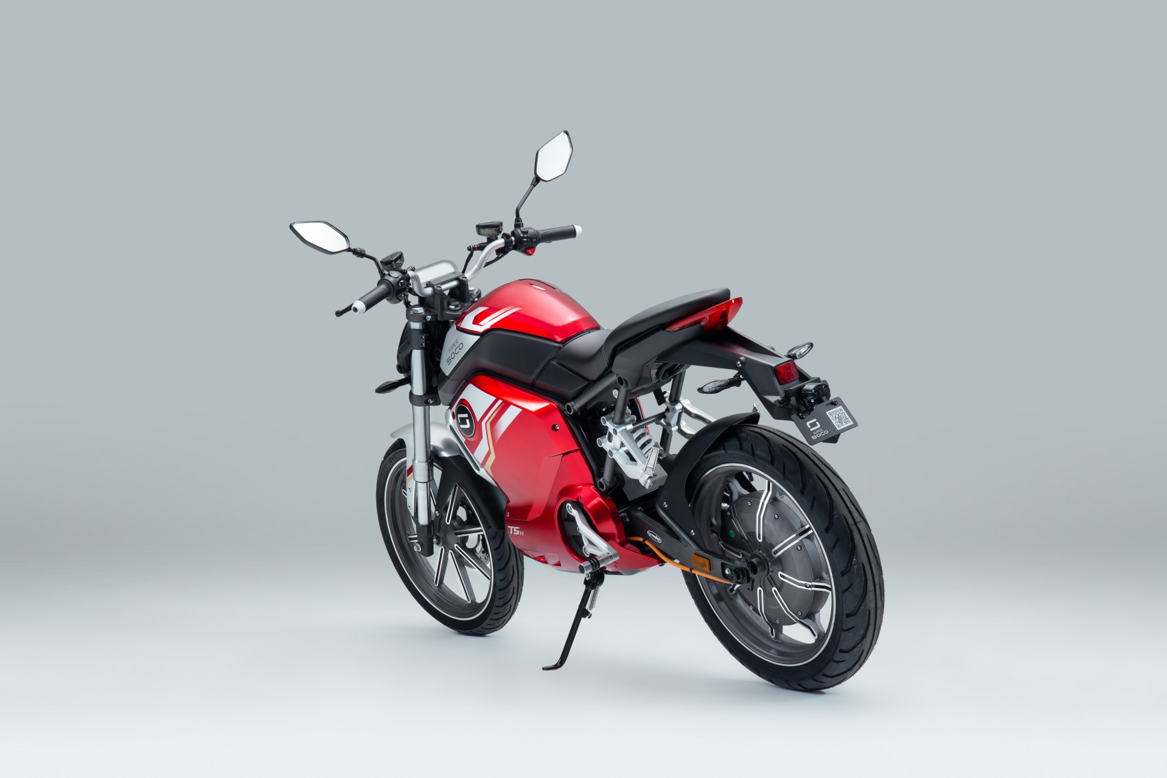 Super Soco TSx electric motorcycle rear three quarter image