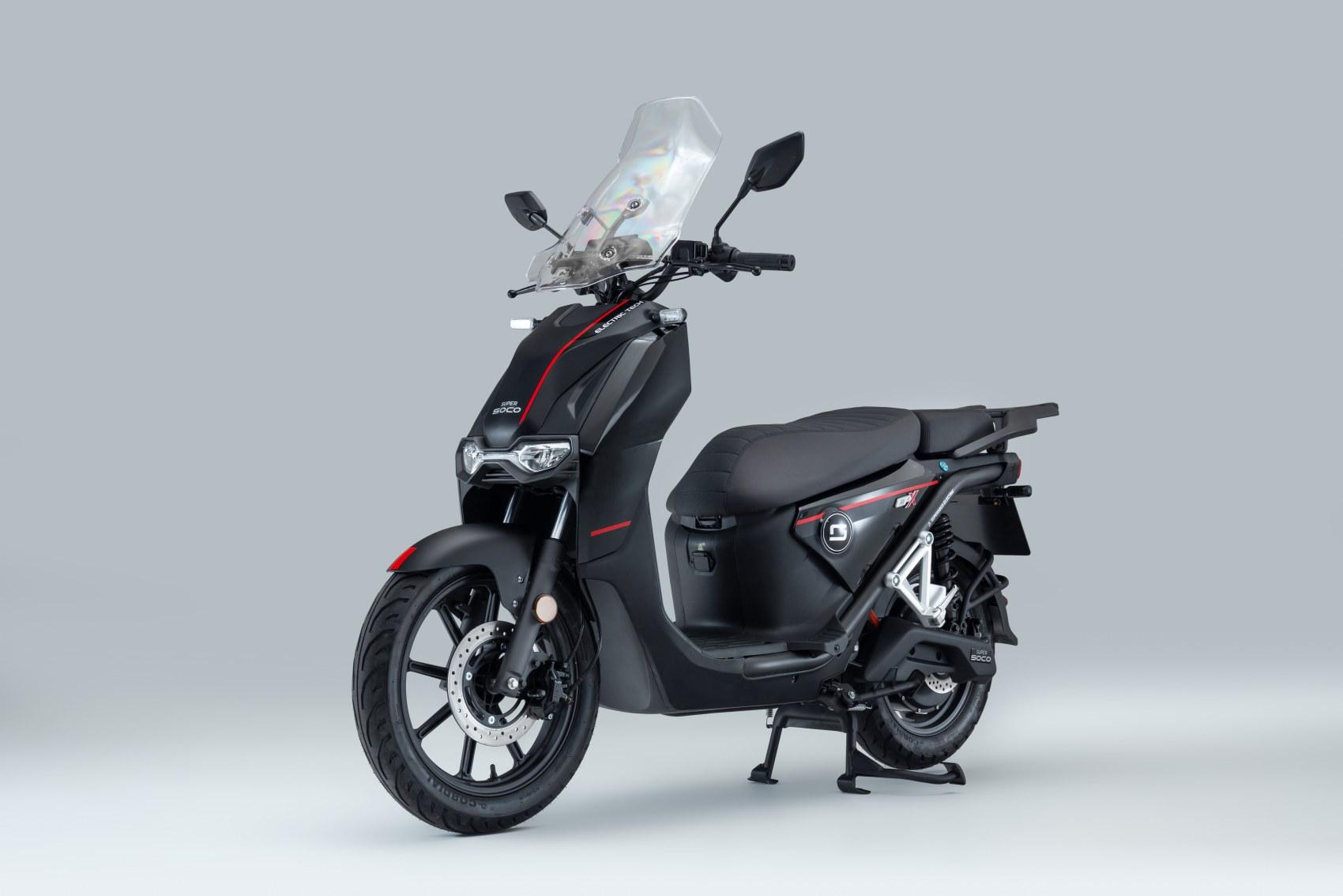 Super Soco CPx electric scooter three quarter profile image