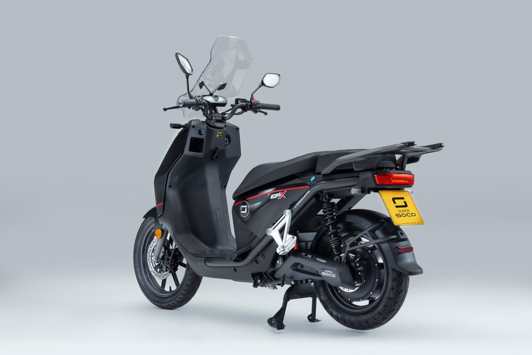 Super Soco CPx electric scooter rear three quarter profile image