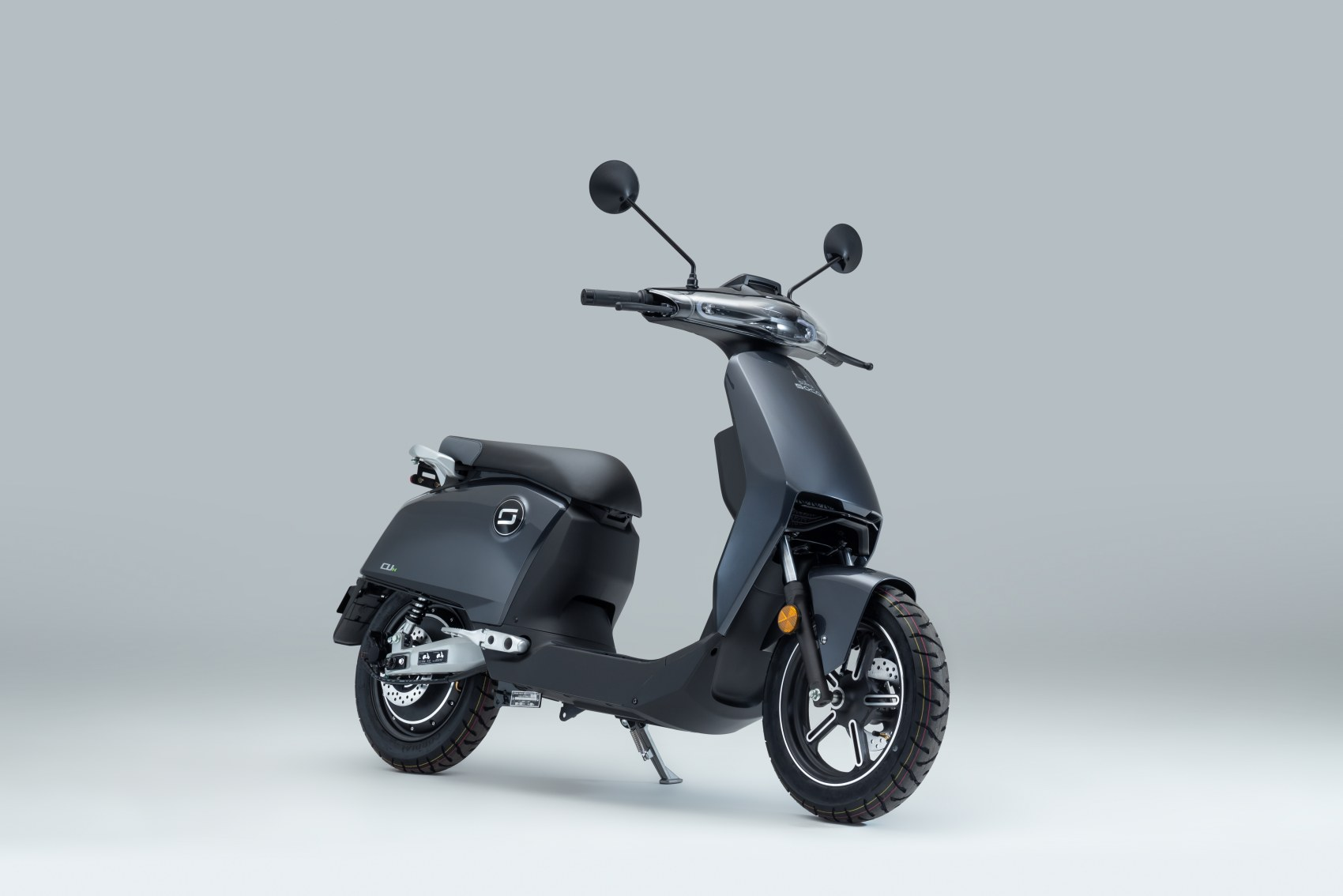 Super Soco CUx electric scooter front three quarter image