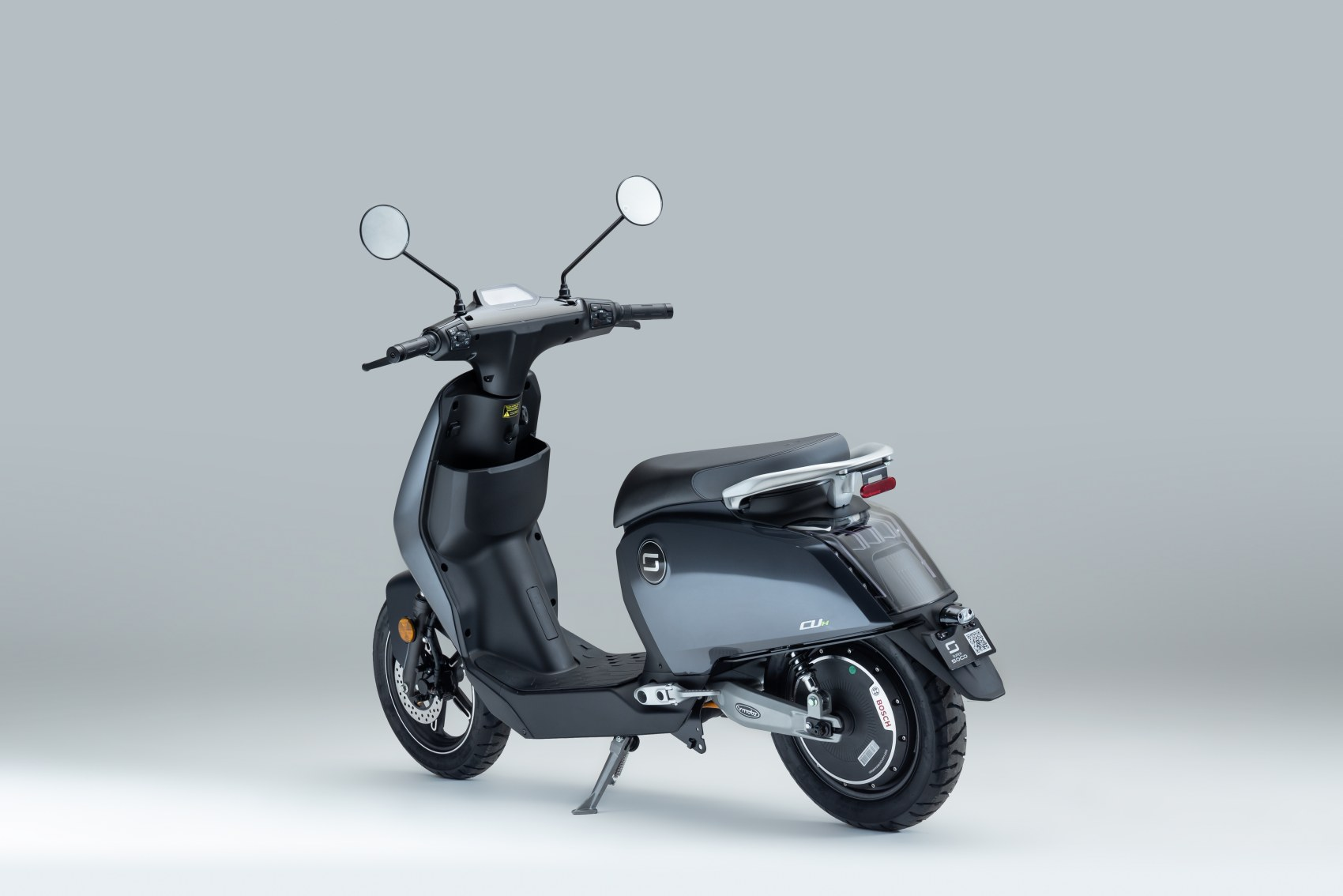 Super Soco CUx electric scooter rear three quarter image