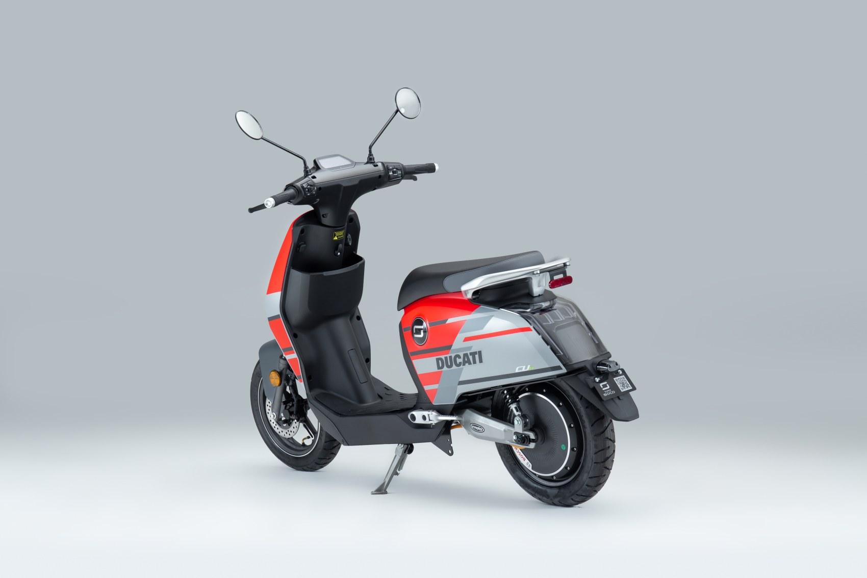 Super Soco CUx electric scooter Ducati Edition rear three quarter image
