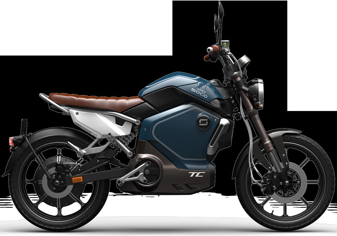 Super Soco TC electric motorcycle side profile cutout