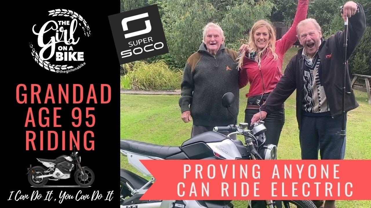 Super Soco TC Max – The Girl On A Bike – 95-year-old Grandad goes riding