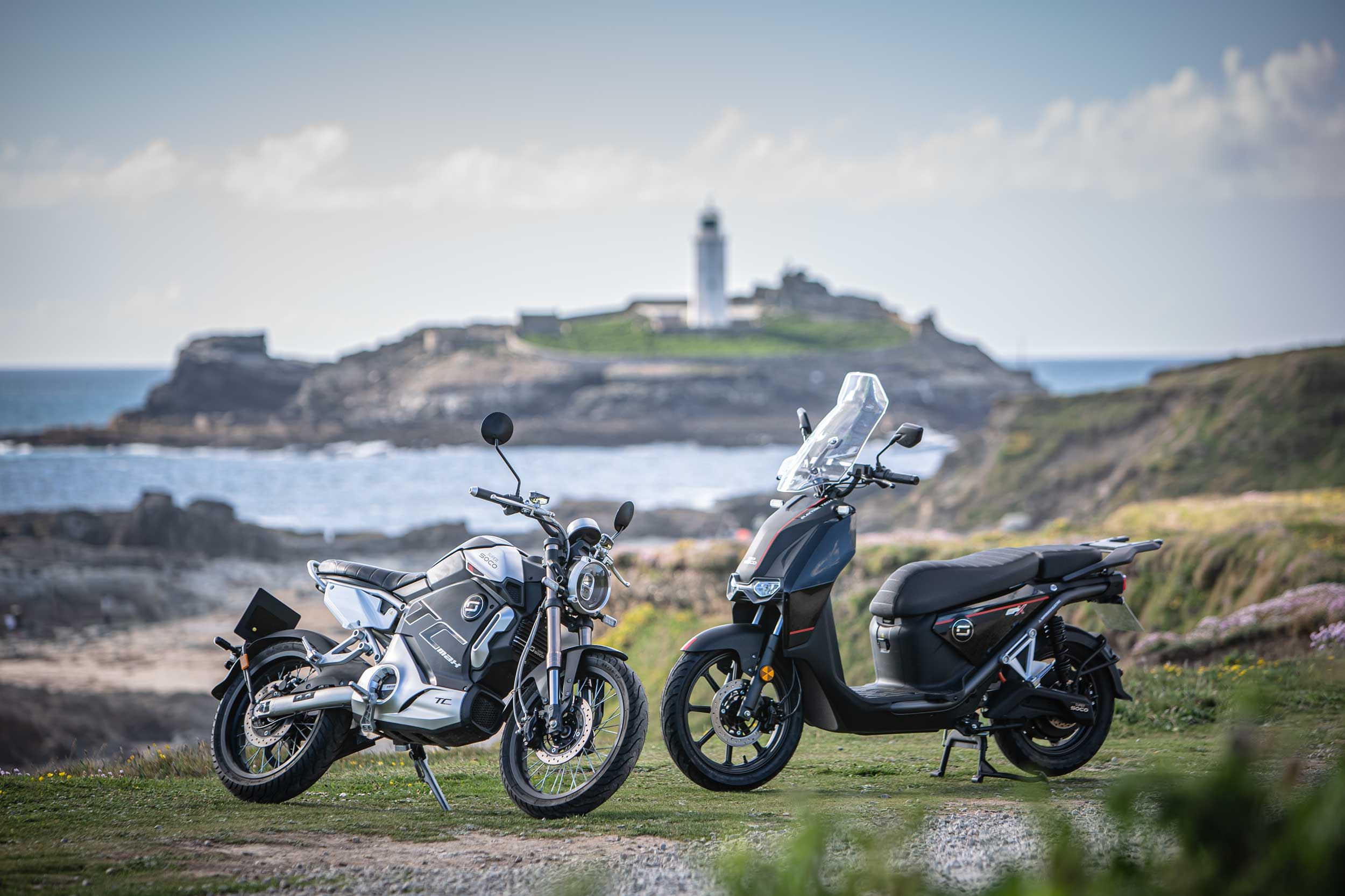 Super Soco TC Max and CPx electric vehicles in Cornwall