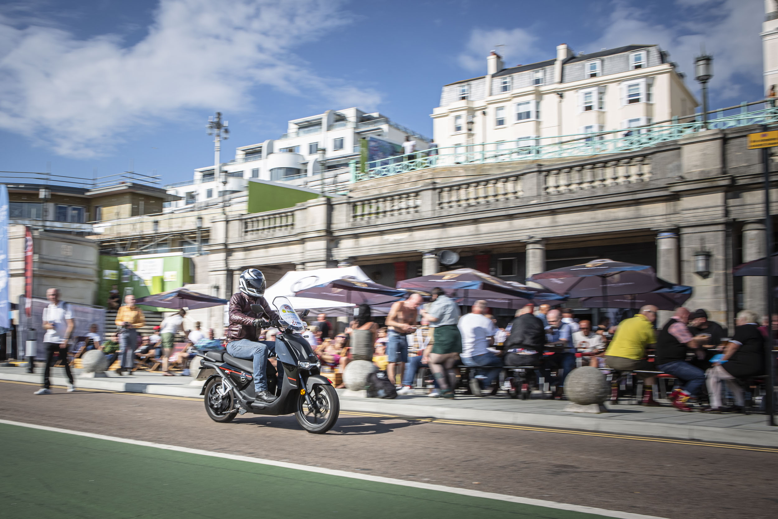 Super Soco CPx electric scooter in the London to Brighton EV rally